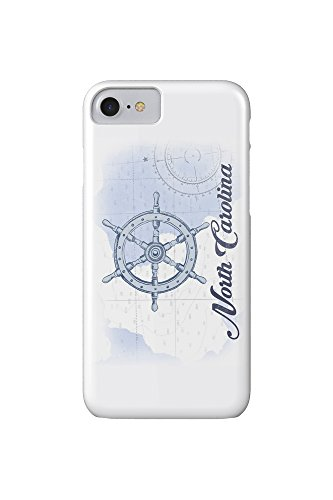 Preisvergleich Produktbild North Carolina - Ship Wheel - Blue - Coastal Icon (iPhone 7 Cell Phone Case, Slim Barely There)