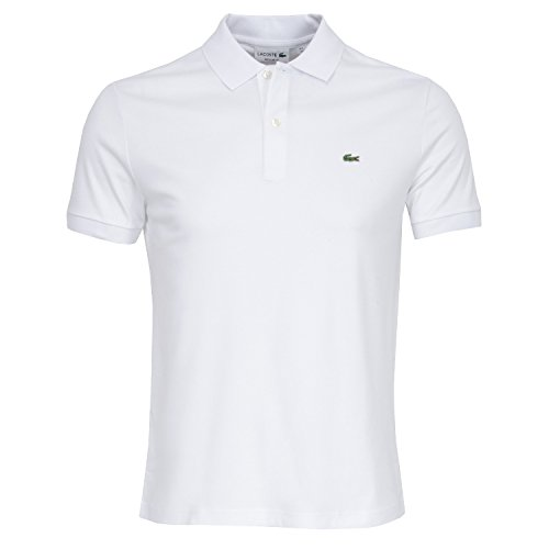 Lacoste DH2050 Klassisches Herren Basic Polo, Polohemd, Polo-Shirt, Kurzarm, Regular Fit, 100% Baumwolle White 001