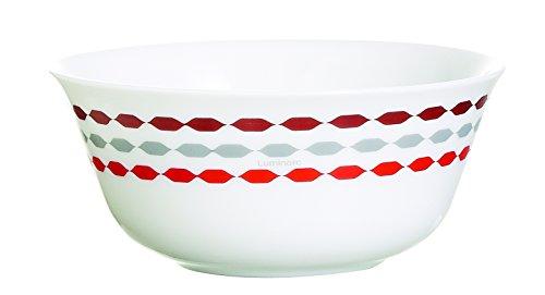 Luminarc 9211901 Lot de 6 Coupelles Sixties Opale Rouge/Blanc 12 x 12 x 5,4 cm