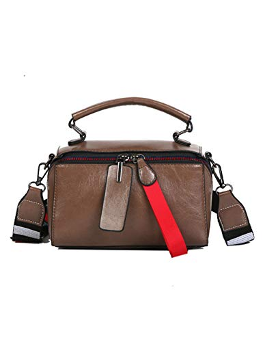 ASDQ Umhängetasche Pu-Handtaschen Doppel Reißverschluss Frauen Messenger BagsWide Strap Patchwor Tote Bags -
