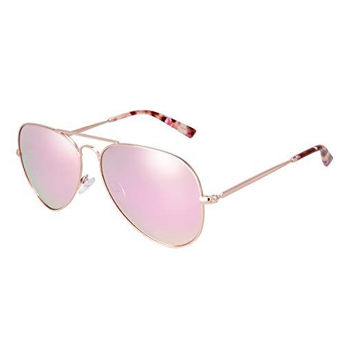 fawova Piloten Sonnenbrille Damen Verspiegelt, Pilotenbrille Damen Polarisiert mit Rosa Schildkrötenspitzen, Flieger Sonnenbrille Verspiegelt, UV400, Cat.3, 58mm (Roségold, Grünrosa Verspiegelt)