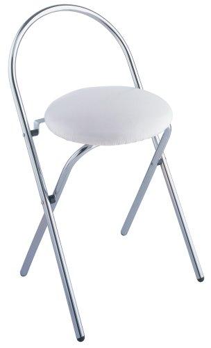 WENKO 16633100 Badhocker Salerno - klappbar, Soft-Sitz, Lehne, Kunststoff, 43 x 63 x 38 cm, Weiß