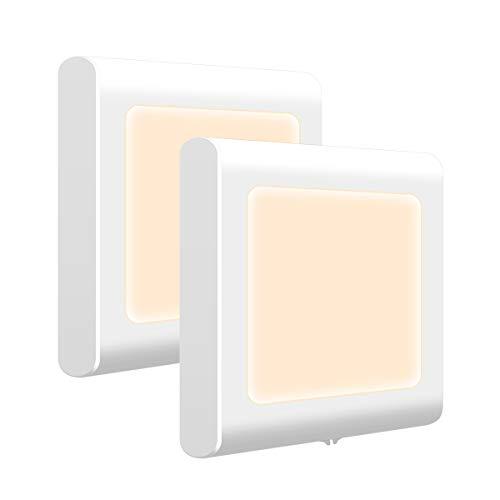 Opard Nachtlicht Steckdose Dimmbar mit Dämmerungssensor, Helligkeit Stufenlos Einstellbar Energiesparend Baby Licht für Kinderzimmer Schlafzimmer Flur Treppe, Warmweiß, 2er -