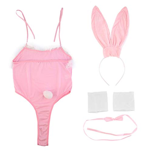 Rabbit Kostüm Bunny - 73JohnPol Klassische Kostüm Cosplay Sexy Hot Phantasie Bunny Rabbit Dessous Full Set Neckholder Kleid Versuchung Babypuppe Uniform Party Schwarz / Rosa, Rosa