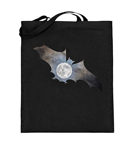 Cooles Blutsauger Fledermaus Mond Vollmond Vintage Halloween Gruselig Nachteule Dunkelheit - Jutebeutel (mit langen Henkeln)