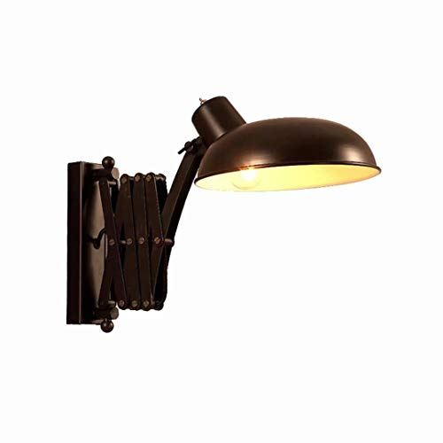 Verstellbare Wandleuchte Industrial Flexible Wandlampe Leselampe Vintage Wandleuchten Schwarz Metall E27 Ausziehbar Retro Innen Wandlampe Schlafzimmer Bett Wohnzimmer Arbeitszimmer Warmwei? Licht