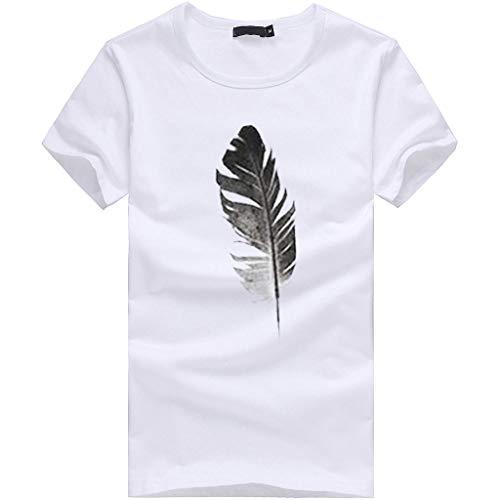Mode Damen Bekleidung Lose Kurzarmblatt Drucken T-Shirt Freizeit O Kragen Top