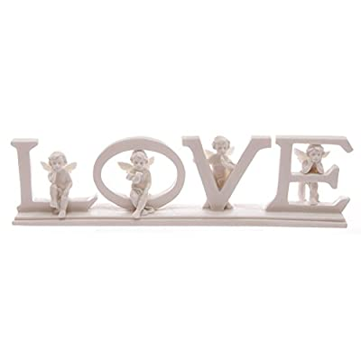 White Cherub LOVE Letters on Base. Beautiful Gift. Love Ornament, Angels, Cherub