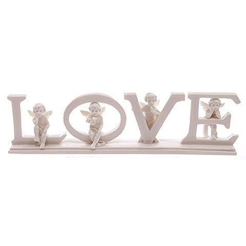 White LOVE Cherub Letters on Base 6.5cm