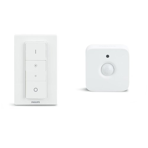 Philips Hue Sensore di Movimento per Accensione e Spegnimento, 2 Pezzi + Telecomando Dimmer Switch per Sistema Hue, Bianco