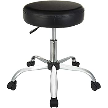 AmazonBasics Height Adjustable Office/Bar/Kitchen Stool with Bonded Leather Upholstery, Black