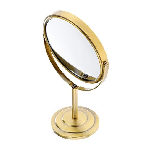 B Blesiya Doppelseitig 1/2 x LED Kosmetikspiegel Kosmetik Tisch Spiegel Standspiegel, 360° Schwenkbar - Bronze -