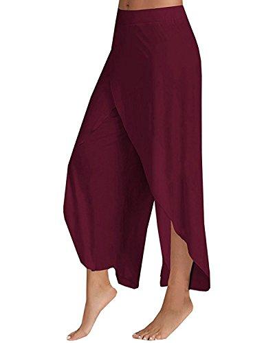 StyleDome Pantaloni Donna Sportivi Stretch Slim Casual Moda Yoga Jogging Eleganti Coulisse Ufficio Bordeaux