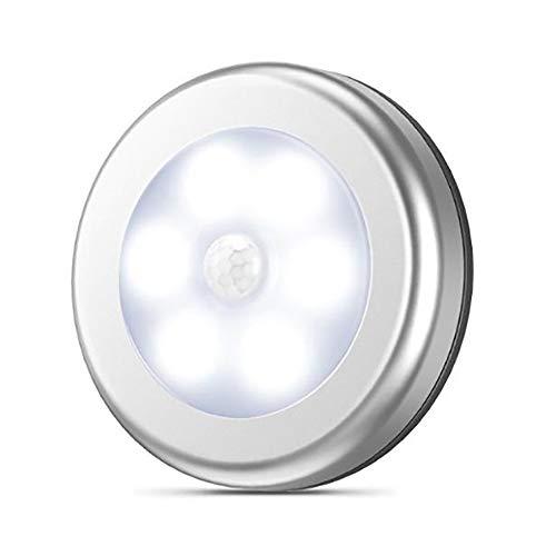 TRQJY Mini Luci Sensore di Movimento Forma Rotonda Luce di Induzione Bianco Caldo 6 Striscia Magnetica LED E Adesivo di 3M Adatto per La Casa Cucina