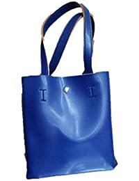 Just Bag Women's Leather Kakhi&blue Leather Hand Bag (jb-24)