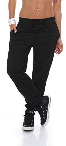 malito Damen Jogginghose im Classic Look | Sporthose in Unifarben | Baggy zum Tanzen | Sweatpants – Trainingshose H1206 (M, schwarz)