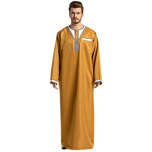 LILICAT Lässige Feste Robe Männer Ethnische Festlich Roben Islamischen Muslim Nahen Osten Maxi Kleid Kaftan Abendkleid Kleider Slim Fit Rundkragen Robe Elegant ()