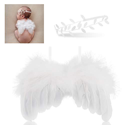 Hifot neugeborenen fotografie requisiten, Feder baby Engel Flügel mit Stirnband Outfits, Baby fotografie - Marienkäfer Soft Kostüm