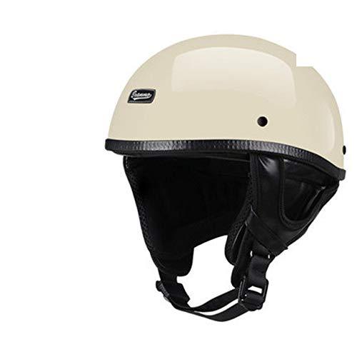 Berrd Casco moto retrò Mezza faccia casco Retro stile tedescoCruiser lucido bianco occhiali L