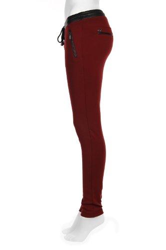 Legging taille élastiquée contrastant Rouge