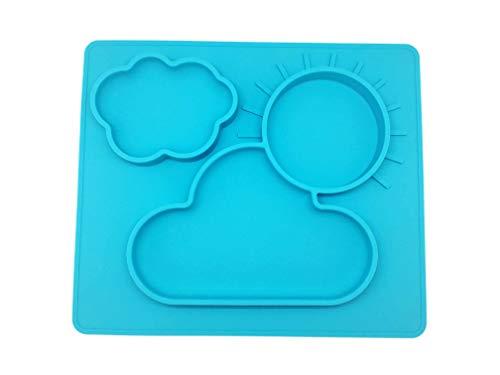 Extra Grande Meal Tovaglietta in silicone Piatti bambino del silicone misura la maggior parte seggiolino Mini Bambino atossico e senza ftalati, non rompere  (blu)
