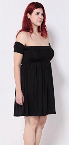 Bigood Robe de Cocktail Femme Coton Grande Taille Epaule Nue Mariage Soirée Chic Noir
