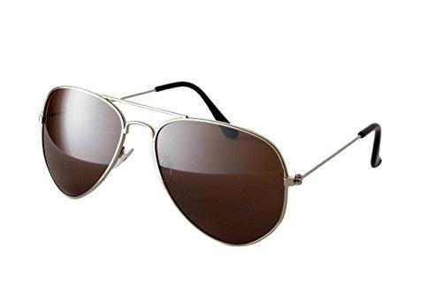 tenbrille Fliegerbrille Sonnenbrille Brille Top Design Silber Braune Glässer (Braune Top Hat)