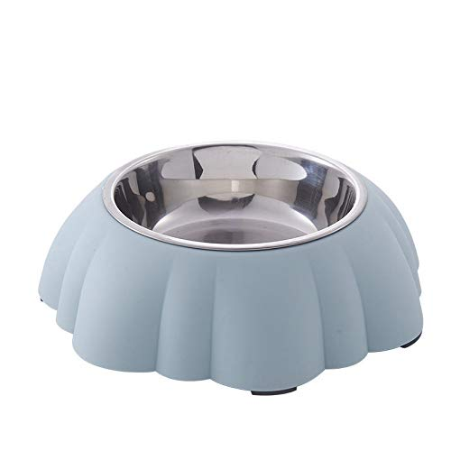 GBJLKMKGV Hundenapf Edelstahl Hundenapf Kunststoff-Futtertrog Wassertrog für Welpen Kleine Hunde Futtertrog Katzenfuttertrog, Blau, 21,5x6,5 cm