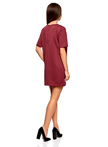 oodji Collection Damen Gerades Kleid aus Strukturiertem Stoff Rot (4900N)