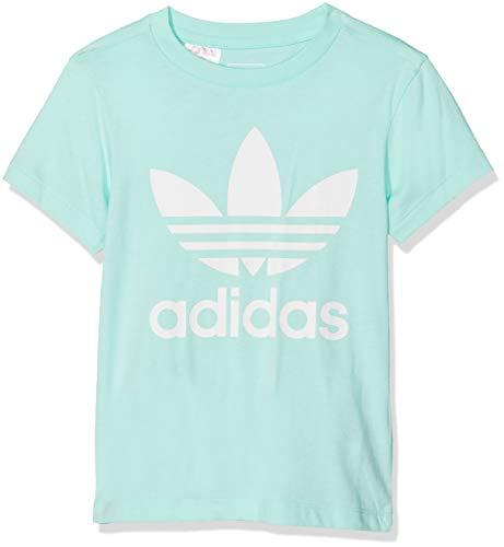 adidas Jungen Trefoil T-Shirt, Clear Mint/White, 128 - Jungen Langarm-polo-shirt
