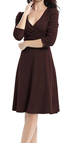 DELEY Femmes Elegante Dress Col V Retro Manches 3/4 Décontractée Cocktail Fête Robe Marron