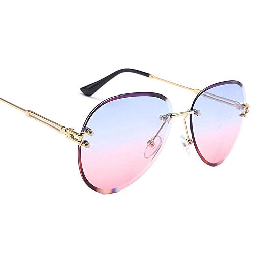 SIZHINIAN Mode Fahren polarisierte Sonnenbrille-Goldrahmen-Blau Rosa Frameless Trimming Sonnenbrillen Damenmode Sonnenbrillen Polygon Brillen -