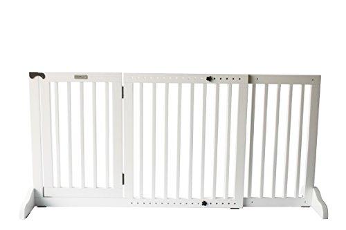 Simply Shield Supreme M | Hunde-Barriere | Hunde-Absperrgitter | Verstellbare Breite mit Tür | In 3 Farben und 2 Größen erhältlich (M, Weiß)