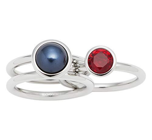 JEWELS BY LEONARDO Damen-Ring Generoso, Edelstahl mit schwarzer Imitationsperle und dunkelrotem Glasstein, Größe 18, 016689