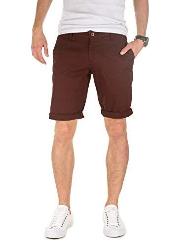 WOTEGA Herren Chino Shorts Penta Slim Fit mit Feinem Hahnentritt-Muster aus Stretch-Material, Kurze Hose, SPO. Braun (Bitter Chocolate 191317), W31