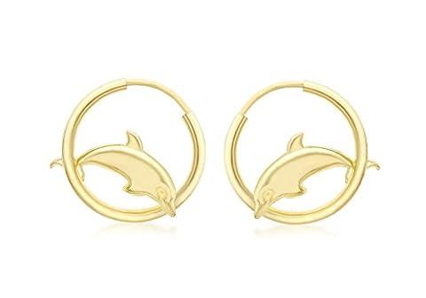 Jewellery World Bague en or jaune 9carats 17mm Dolphin et boucles d