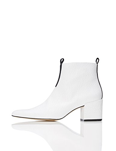 FIND Damen Ankle Boots mit Blockabsatz, Weiß (White), 38 EU