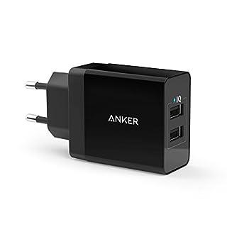 Anker 24W 2-Port USB Ladegerät mit PowerIQ Technologie für iPhone, iPad, Samsung Galaxy, Nexus, HTC, Motorola, LG und weiter (Schwarz)
