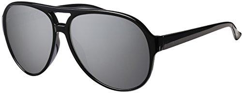 Kostüm Brille Aviator - La Optica UV 400 Herren Retro Sonnenbrille Pilotenbrille Fliegerbrille - Einzelpack Glänzend Schwarz (Gläser: Silber verspiegelt)