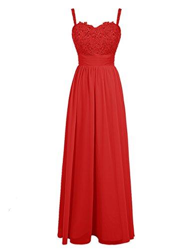 Dresstells, Robe de soirée Robe de cérémonie Robe de demoiselle d'honneur mousseline coupe empire bretelles spaghetti Rouge