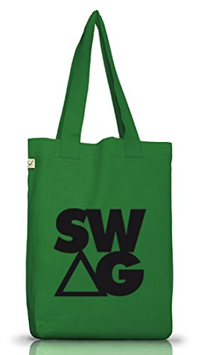 Shirtstreet24, SWAG TRIANGLE , Swagger Rap Hip Hop Money Jutebeutel Stoff Tasche Earth Positive Moss Green