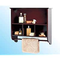 Two Shelf Bathroom Wall Storage Unit with Towel Rail - Mahogany Finish