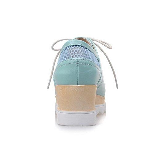 AgooLar Femme Lacet à Talon Correct Pu Cuir Couleur Unie Carré Chaussures Légeres Bleu
