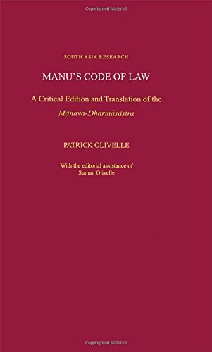 Manu's Code of Law: A Critical Edition and Translation of the M-anava-Dharma's-astra (South Asia Research) by Patrick Olivelle (2004-12-09)