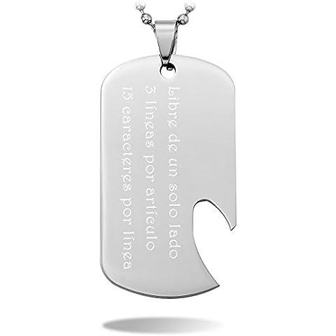 MeMeDIY Plata Acero Inoxidable Colgante Collar Dog Tag Placa Abrelatas - Grabado personalizado