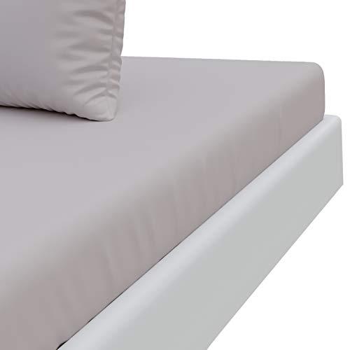 Dreamzie Spannbettlaken Microfaser Zinngrau (150 x 200 x 30 cm, Erwachsene) Extra Hoher Steg Weich Samtige Oberfläche - Hergestellt in Europa und Zertifiziert Nach Oeko Tex Standard 100 - Bügelfrei