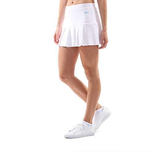 Sportkind Mädchen & Damen Tennis, Hockey, Golf Faltenrock mit Innenhose, Weiss, Gr. 122