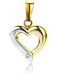 Miore Damen-Anhänger Herz 9 Karat 375 Bicolor Brillant