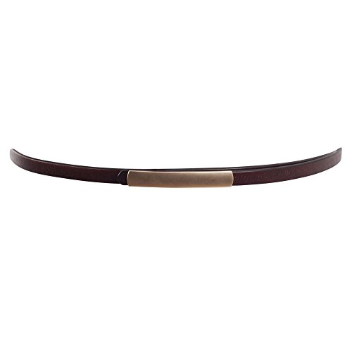 Brown Skinny Belt (BLT179-Women's Brown Leather Feel Skinny Fashion Belt with Hook Buckle)
