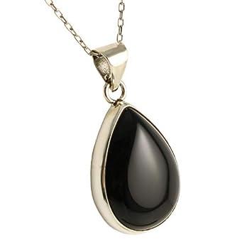 Sterling Silber 925 Schwarzen Onyx Anhänger Halskette 40+5cm Kette – mit Elegante Geschenkbox